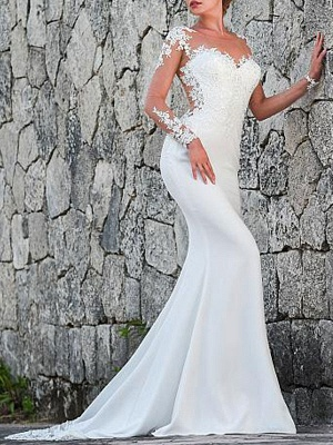 Brautkleider Jewel Neck Long Sleeves Lace Mermaid Brautkleider mit Kleid_2
