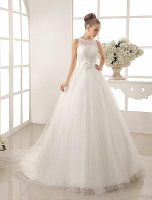 Bateau Neck Wedding Dress With Chapel Train_2