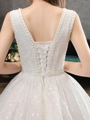 Ivory Wedding Dress Tulle Beaded V Neck Sleeveless Floor Length Princess Bridal Gown_7