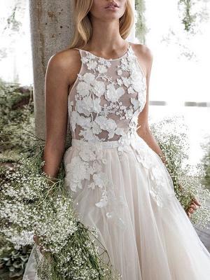 Wedding Dress Jewel Neck A Line Sleeveless Flowers Floorlength Backless Bridal Gowns_4
