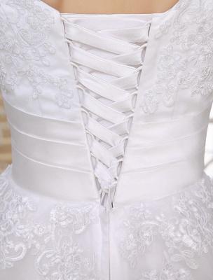 Einfache Brautkleider 2021 Kurze Spitze Applique Illusion Halbarm Tee Länge Brautkleid Exklusiv_10