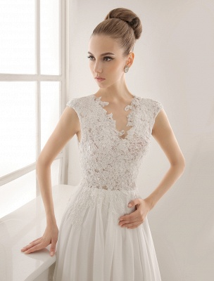 Wedding Dresses Chiffon V Neck Beach Bridal Dress Pearls Beaded Lace Ivory Bridal Gown_5