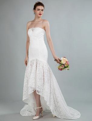 Einfache Brautkleider trägerlose ärmellose Spitze Meerjungfrau Brautkleider mit Zug_4