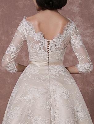 Lace Wedding Dress Vintage Bateau Champagne Half Sleeves Bridal Gown A Line Backless Tea Length Sash Reception Bridal Dress Exclusive_8
