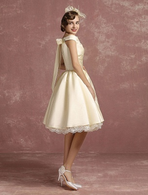 Short Wedding Dresses Satin Vintage Princess Bridal Dress Knee Length Sleeveless Lace Edge Pleated Bridal Gown With Ribbon Bow Exclusive_7