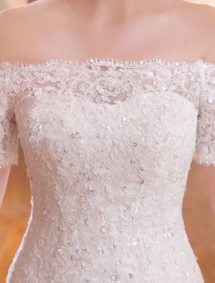 Mermaid Wedding Dresses Lace Beading Off The Shoulder Short Sleeve Fishtail Ivory Bridal Gown With Train_5