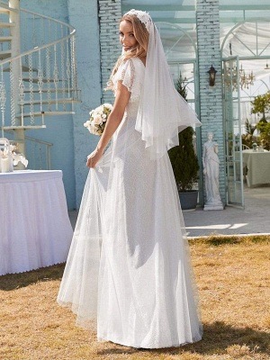 White Simple Wedding Dress Lace V-Neck Short Sleeves Backless Ruffles A-Line Natural Waist Long Bridal Gowns_6