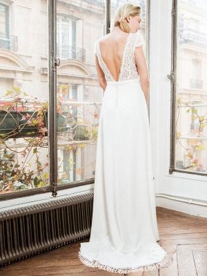 Weißes einfaches Brautkleid A-Linie trägerlos rückenfrei kurze Ärmel Spitze Satin Stoff lange Brautkleider_3