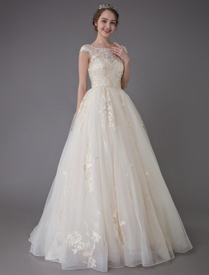 Wedding Dresses Princess Ball Gowns Champagne Lace Applique Beaded Colored Maxi Bridal Dress_5