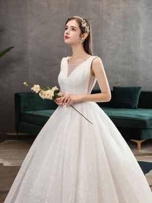 Ivory Wedding Dress Tulle Beaded V Neck Sleeveless Floor Length Princess Bridal Gown_6