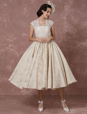 Kurzes Brautkleid Spitze Champagner Vintage Brautkleid Ballkleid Perlen Backless Tee-Länge Brautkleid Mit Schärpe Exklusiv_2