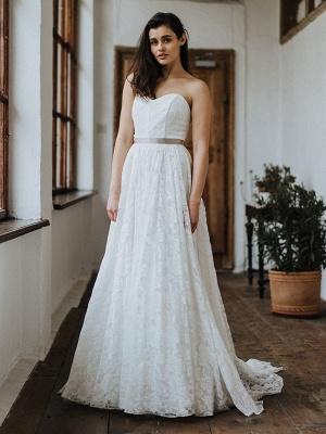 Einfache Brautkleider Brautkleider aus Spitze Trägerlose Brautkleider in A-Linie_2