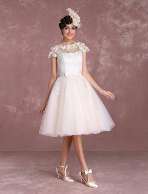 Vintage Wedding Dresses Short Lace Applique Bridal Gown Illusion Bow Sash Bridal Dress Exclusive_7