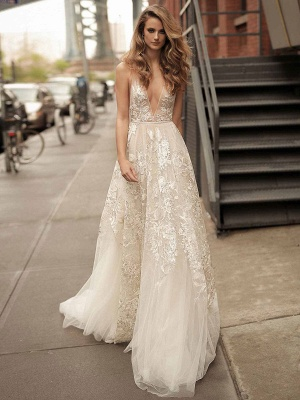 Lace Wedding Dress With Train A Line Sleeveless V Neck Bridal Dresses_1