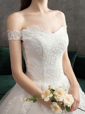 Spitze Brautkleider Elfenbein Spitze Applique Schulterfrei Kurzarm Prinzessin Brautkleid mit Zug_7