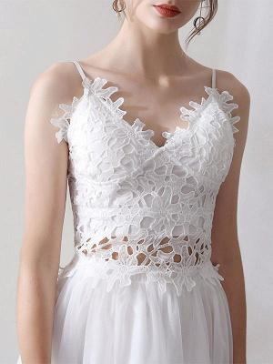 Short Wedding Dresses V Neck Sleeveless A Line Natural Tea Length Waist Organza Bridal Dresses_6