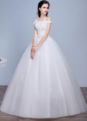 Lace Wedding Dress Off The Shoulder Floor Length Lace Up Applique Bridal Dress With Beads Sequins_3