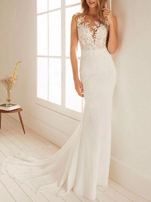 Simple Wedding Dress Mermaid Chiffon Jewel Neck Sleeveless Floor Length Beach Bridal Gown With Court Train_1