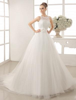 Bateau Neck Wedding Dress With Chapel Train_1