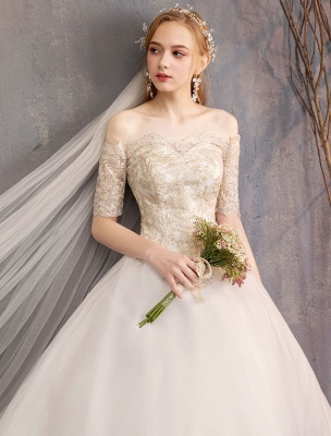 Tulle Wedding Dress Off The Shoulder Half Sleeve Princess Bridal Gown_16
