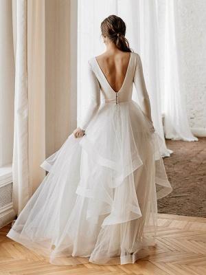 Weiße A-Linie Brautkleider Bodenlang Lange Ärmel Abgestufter V-Ausschnitt Natürliche Taille Bodenlange Brautkleider_2