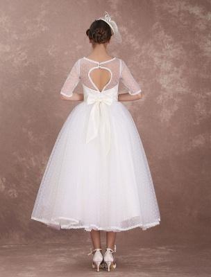 Vintage Brautkleid 50er Jahre kurzes Brautkleid Elfenbein rückenfrei Polka Dot halbe Ärmel Schatz Schleife Schärpe Weddig Empfangskleid exklusiv_6