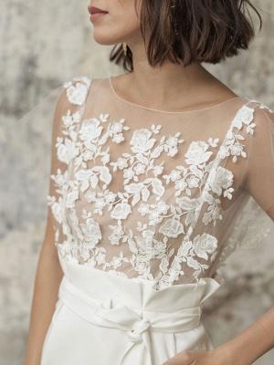 Weiße Kurze Brautkleider Illusionsausschnitt Jewel Neck Kurze Ärmel Mantel Natürliche Taille Spitze Schleifen Cut-Outs Rüschen Brautkleider_3