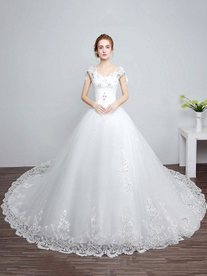 Prinzessin Brautkleider Elfenbein Backless Brautkleid Spitze Applique V-Ausschnitt Langer Zug Brautkleid_1