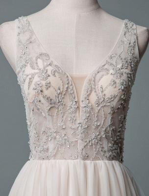 Einfaches Hochzeitskleid A-Linie V-Ausschnitt ärmellose Applikationen Perlen bodenlangen Brautkleider_4