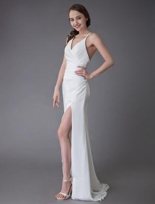 Beach Wedding Dresses Sexy Bridal Dress High Split Ivory Sheath Straps Summer Wedding Gowns Exclusive_5