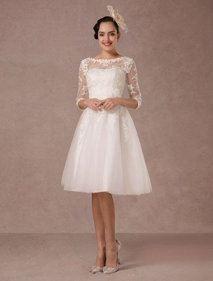 Short Wedding Dress Vintage Lace Applique Long Sleeves Tea Length A Line Tulle Bridal Gown With Flower Sash Exclusive_3