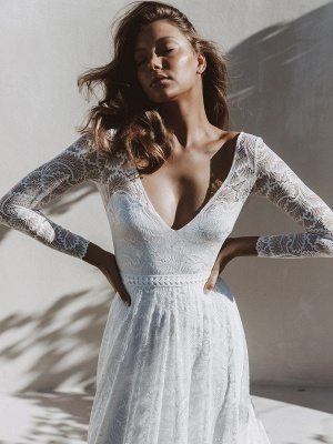 Ivory Lace Wedding Dress Chapel Train A-Line Long Sleeves Lace V-Neck Long Bridal Gowns_9