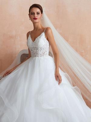 Ballkleid Brautkleid 2021 Prinzessin Träger Hals Ärmellos Natürliche Taille Besetzte Tüll Brautkleider Mit Zug_8