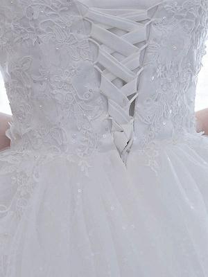 Elegante Brautkleider Weiß Schulterfrei Halbarm Weicher Tüll Lace Up Bodenlangen Brautkleider_4