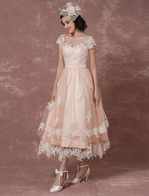 Wedding Dress Short Vintage Bridal Dress Backless Illusion Lace Applique Tea-Length A-Line Reception Bridal Gown Exclusive_5