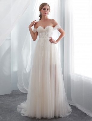 Brautkleider Tüll Elfenbein Schulterfrei Sweetheart Beach Brautkleid mit Schleppe_2