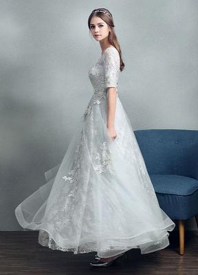 Robes de mariée d'été 2021 dentelle grise appliques Maxi robe de mariée dos nu demi-manches étage longueur robe de mariée_4