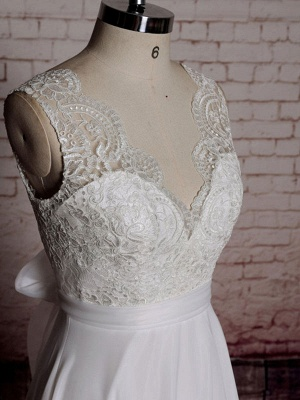 Simple Wedding Dress A Line Lace V Neck Sleeveless Bows Bridal Dresses With Chapel Train_3