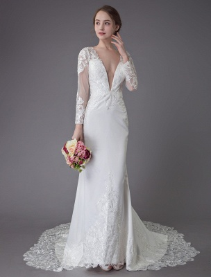 Beach Wedding Dresses Ivory Lace V Neck Long Sleeve Mermaid Bridal Gown With Train Exclusive_3