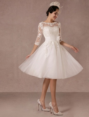 Short Wedding Dress Vintage Lace Applique Long Sleeves Tea Length A Line Tulle Bridal Gown With Flower Sash Exclusive_1