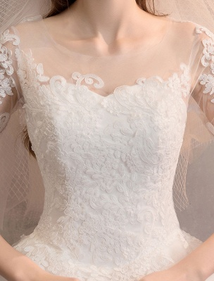 Elfenbein Brautkleider Tüll Illusion Ausschnitt Halbarm Bodenlangen Prinzessin Brautkleid_8