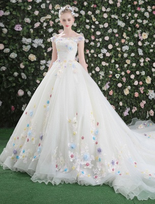 Flowers Quinceanera Dresses White Luxury Off The Shoulder Rhinestones Beading Short Sleeve Women'S Pageant Dresses With Train_1