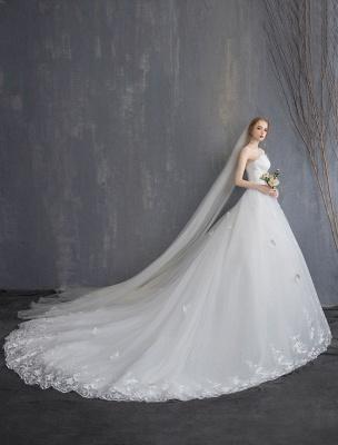 Spitze Brautkleider Elfenbein Trägerlos Ärmellos Applique Prinzessin Brautkleid Mit Zug_6