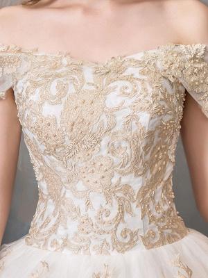 Robes de mariée 2021 robe de bal hors épaule dentelle dorée appliqued étage longueur robe de mariée_6