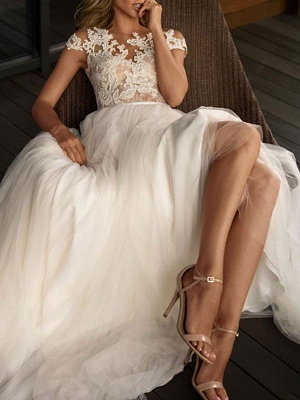 Wedding Dresses 2021 Illusion Neck Short Sleeve Floor Length Lace Soft Tulle Beach Bridal Gowns For Boho Wedding_3