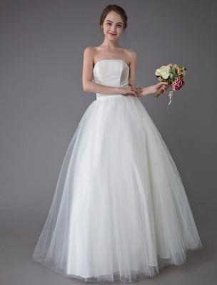 Tulle Wedding Dress Ivory Strapless Sleeveless Princess Dress Ball Gown Floor Length Bridal Dress Exclusive_2