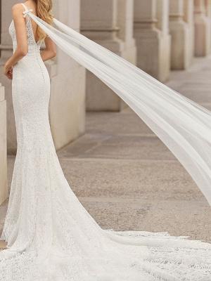 Brautkleid aus Spitze mit Zug Meerjungfrau ärmellose Spitze Tüll V-Ausschnitt Brautkleider_2