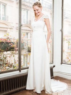 Weißes einfaches Brautkleid A-Linie trägerlos rückenfrei kurze Ärmel Spitze Satin Stoff lange Brautkleider_2