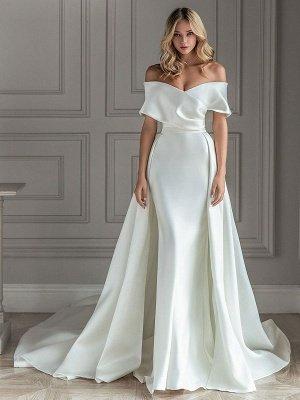 Weißes Vintage Brautkleid mit Zug Satin Schulterfrei Brautkleid Plissee Meerjungfrau Brautkleider_1