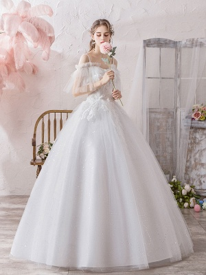 Ball Gown Wedding Dress Princess Silhouette Off The Shoulder Short Sleeves Natural Waist Floor Length Bridal Gowns_3